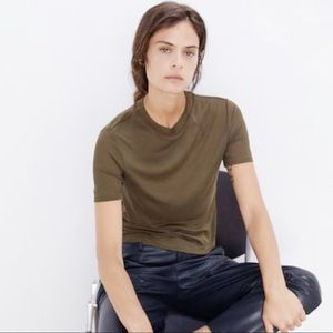 Zara Perfect Basics Olive Army Green Top Tee